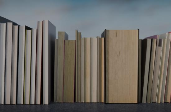 thick books lined up